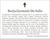 Esquela de Fallecimiento de BORJA GERMAIN DE SOLÍS