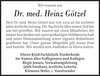 Dr. med. Heinz Götzel