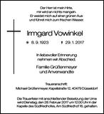 Anzeige für Irmgard Vowinkel
