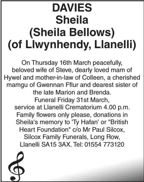Obituary notice for DAVIES Sheila