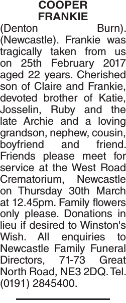 Obituary notice for COOPER FRANKIE