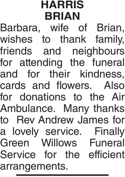 Acknowledgement notice for HARRIS BRIAN