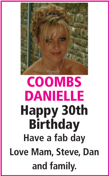 Birthday notice for COOMBS DANIELLE