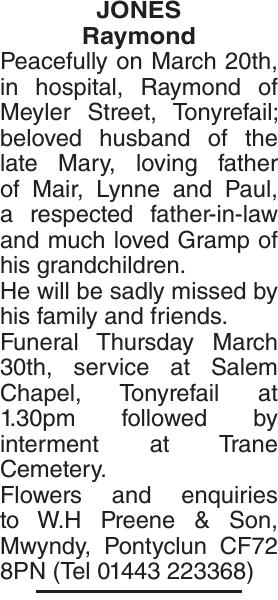 Obituary notice for JONES Raymond