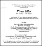 Anzeige für Klaus Siller