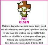 Mother's Day Memorial notice for PAT OLSEN