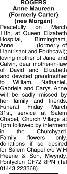 Obituary notice for ROGERS Anne