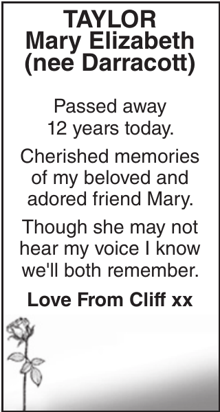 Memorial notice for TAYLOR Mary