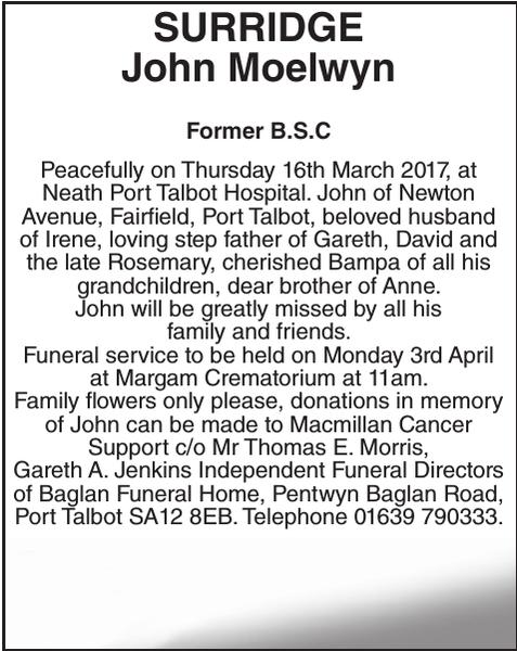 Obituary notice for SURRIDGE John