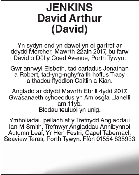 Obituary notice for JENKINS David