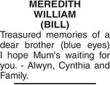 Obituary notice for MEREDITH WILLIAM