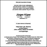 Jürgen Küper : Traueranzeige