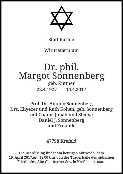 Dr. phil. Margot Sonnenberg : Traueranzeige