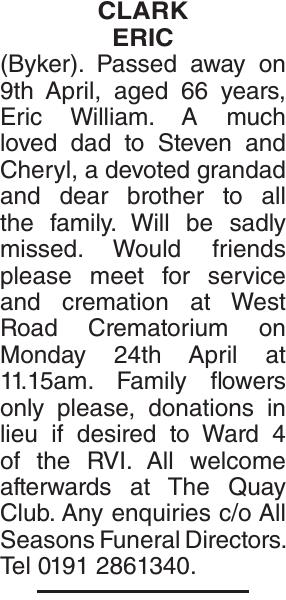 CLARK ERIC : Obituary