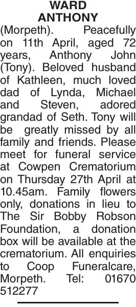 ANTHONY : Obituary