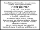 Anzeige für Dieter Hofman