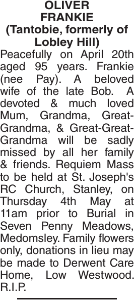 Obituary notice for OLIVER FRANKIE