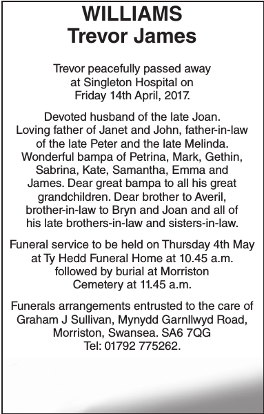 Obituary notice for WILLIAMS Trevor