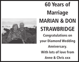Anniversary notice for of MARIAN DON STRAWBRIDGE