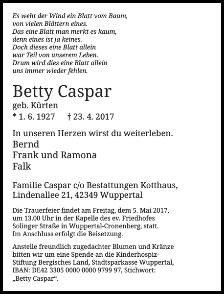 Betty Caspar : Traueranzeige