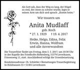 Anita Mudlaff : Traueranzeige