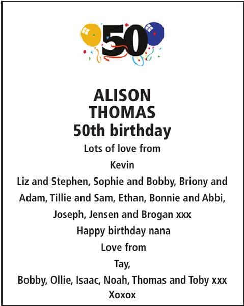 Birthday notice for ALISON THOMAS