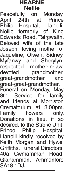 Obituary notice for HEARNE Nellie